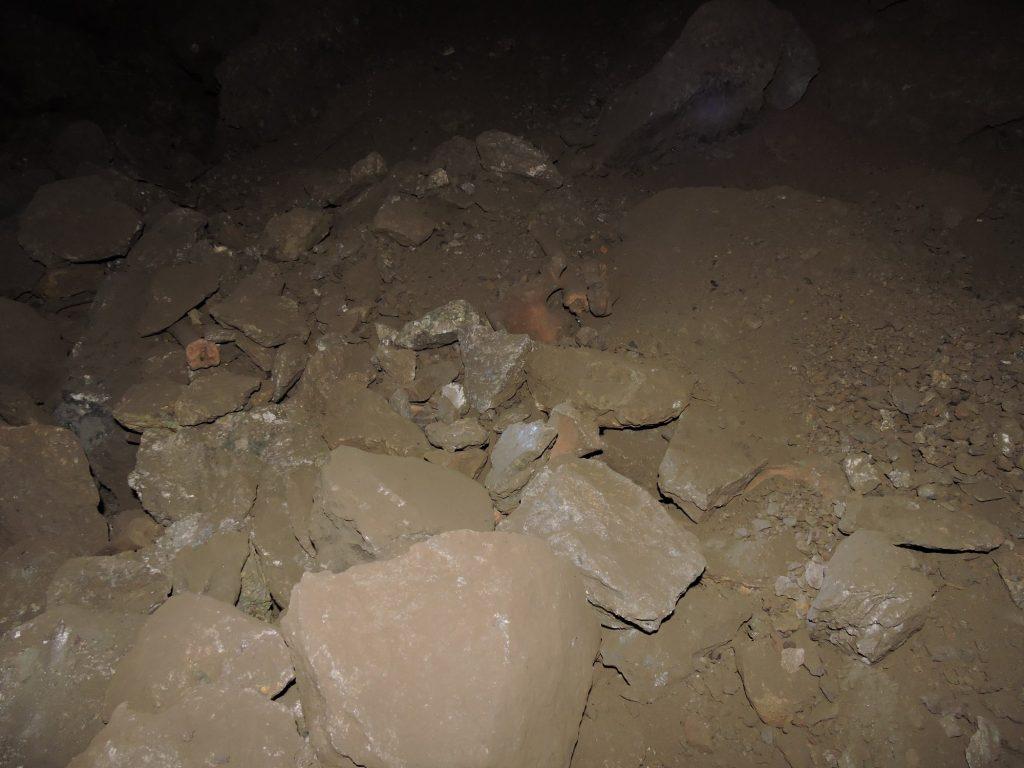 Kości ludzkie i zwierzęce w głównej komorze jaskini Fot. A. Sołtysiak