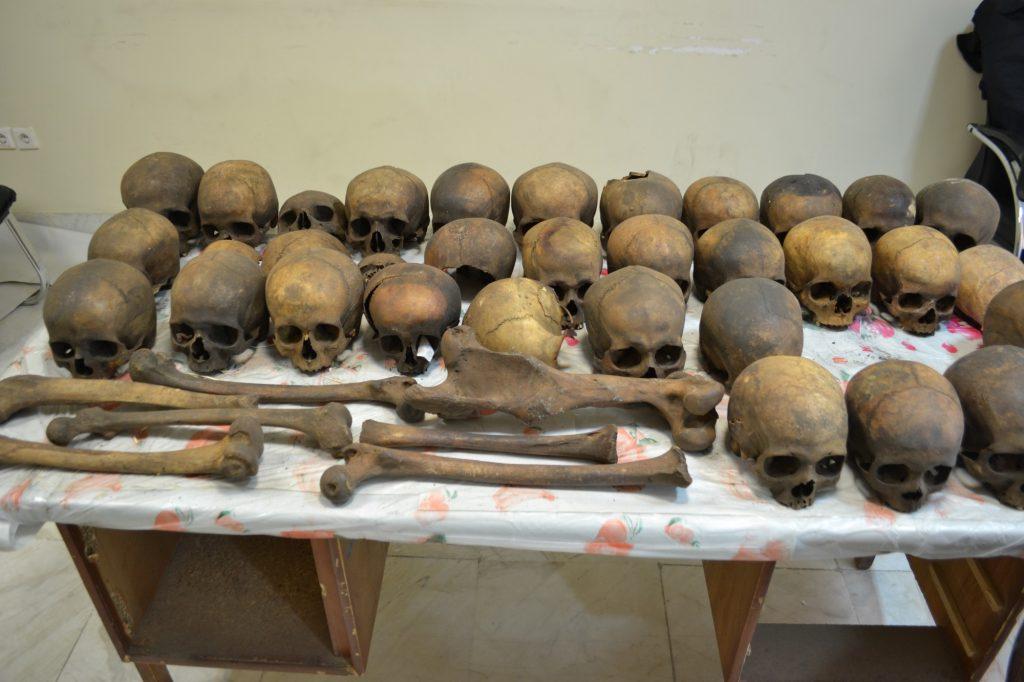 Szczątki ludzkie (i kość zwierzęca) z irańskiej jaskini Kan-Gohar, obecnie w Ośrodku Medycyny Sądowej Prowincji Fars Fot. Mahsa Nadżafi