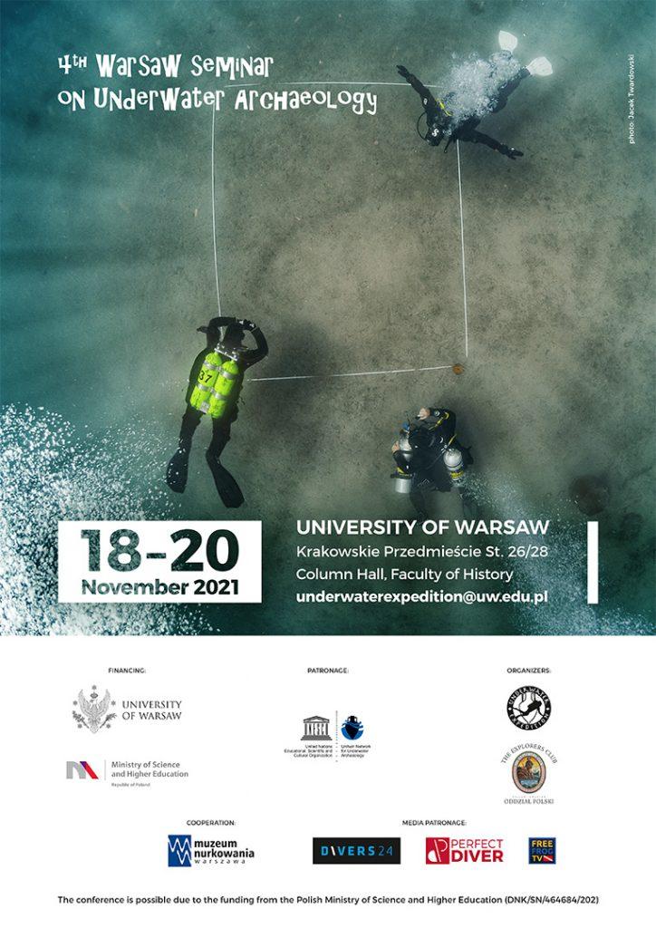 Plakat 4th Warsaw Seminar on Underwater Archaeology (fot. Jacek Twardowski, grafika: Jerzy Nicman)
