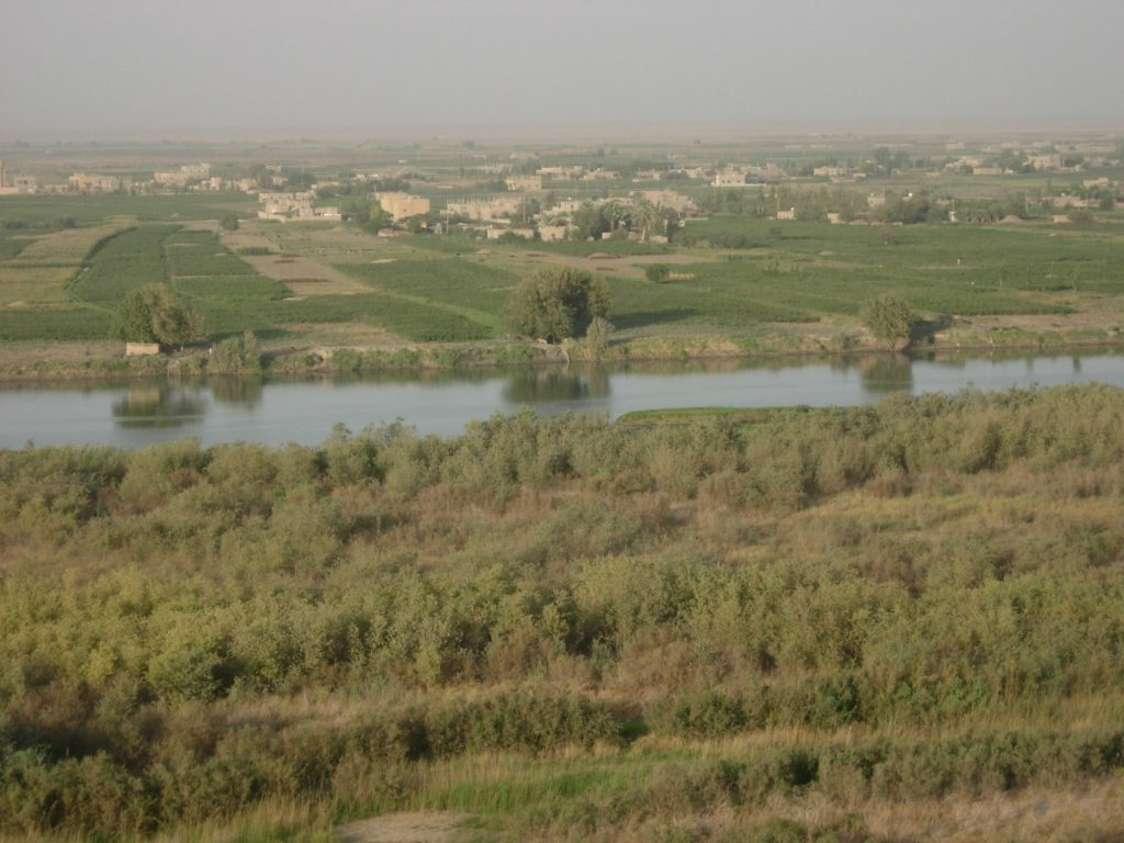 Dolina Eufratu w połowie drogi między Terką a Mari. Pomimo nawodnienia przy użyciu nowoczesnych pomp spalinowych, znajdujących się w budynkach widocznych na brzegu rzeki, pola uprawne sięgają nie dalej niż dwa kilometry od Eufratu. Dalej jest pustynia. A.Sołtysiak, zdjęcie na licencji CC BY-NC-SA