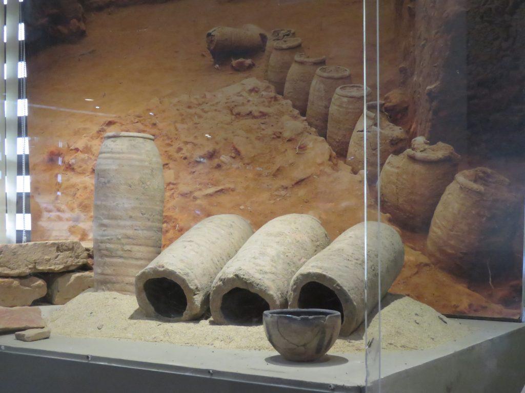 Amfory na wystawie w muzeum wykopalisk Pattanam - Muziris fot. Vinayaraj (opublikowano na licencji CC BY-SA 4.0)