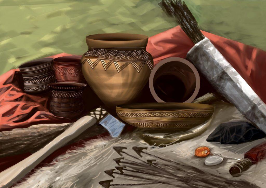 Rekonstrukcja zestawu przedmiotów, które w całości lub we fragmentach zostały poddane rytuałom w Supraślu il. © P. Krall