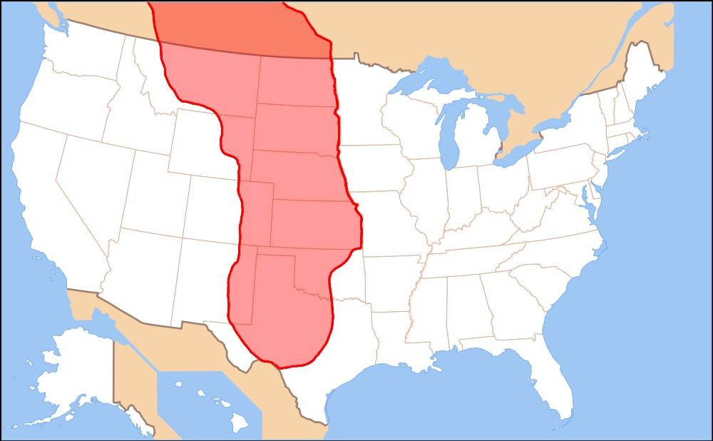 Zasięg regionu geograficznego Wielkich Równin autor: TheDarthEgg, 2010, domena publiczna