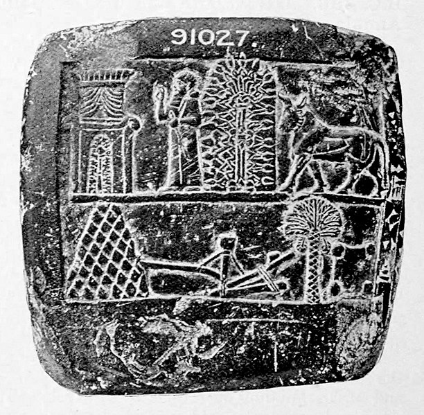 Wizerunki gwiazd tworzących kod imienia Asarhaddona. Relief na bazaltowym bloku, przechowywany w British Museum British Museum. A Guide to the Babylonian and Assyrian Antiquities, 1922, domena publiczna