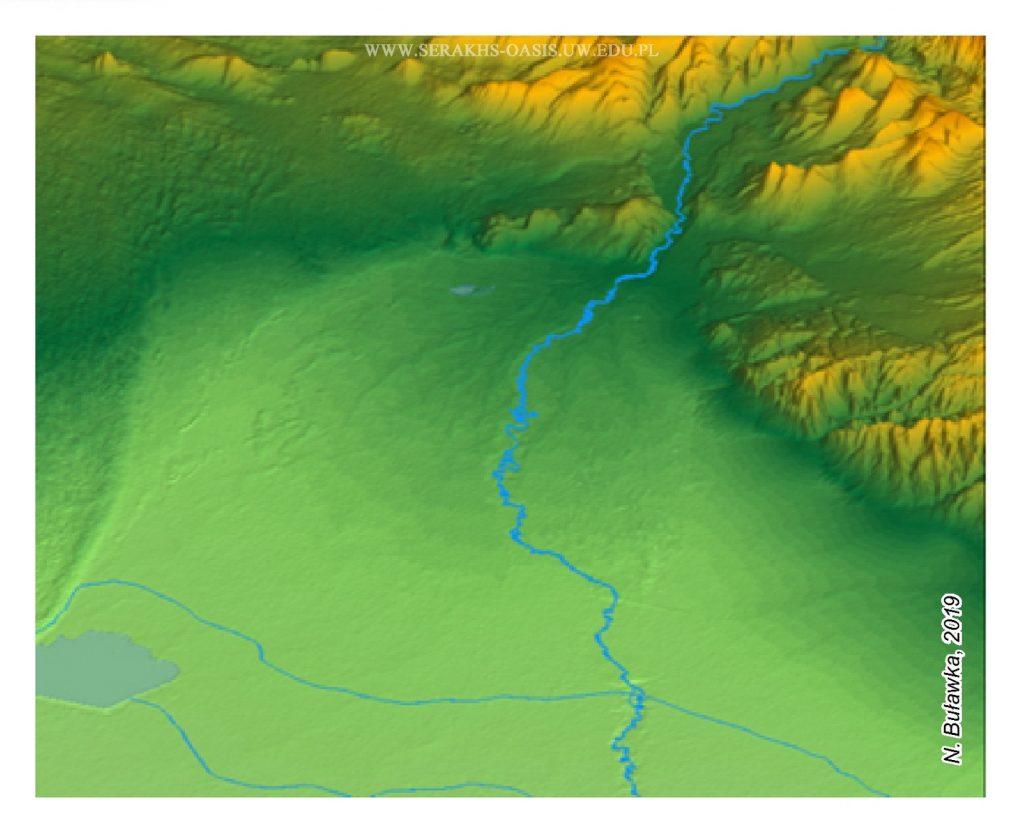 Wizualizacja 3D oazy Serachs – widok od północy il. N. Buławka