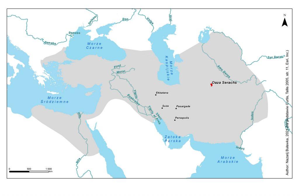 Lokalizacja oazy Serachs na mapie Imperium Achemenidów il. N. Buławka