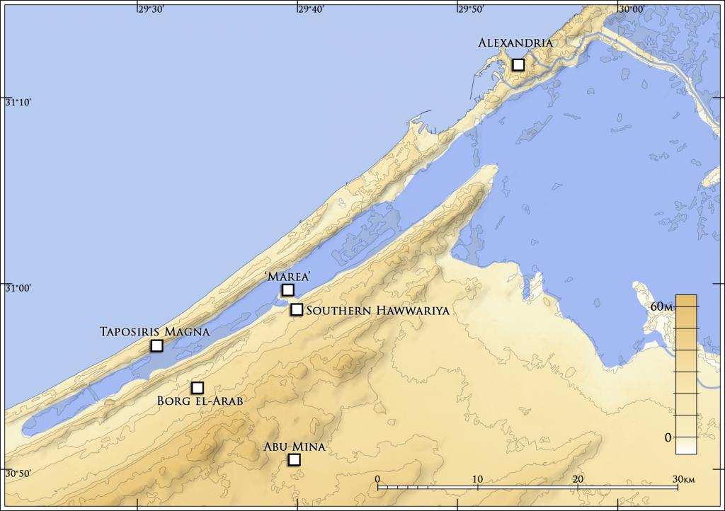 Mapa północnego-zachodniego Egiptu z pozycją Marei rys. J. Kaniszewski, na licencji CC BY 4.0