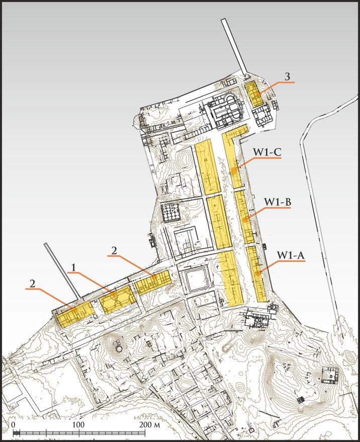 Plan Marei. Na żółto zaznaczono budynki wykonane w technice modułowej. 1. Zachodnie termy; 2. Warsztaty; 3. Budynki mieszkalne; W1-A-C. Budynki przy Wschodnim Nabrzeżu rys. A.B. Kutiak, W. Małkowski, M. Gwiazda, na licencji CC BY 4.0