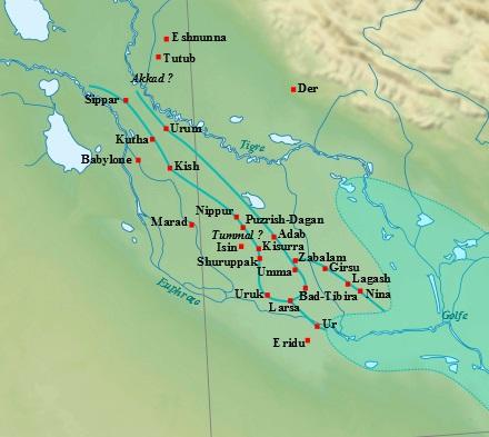 Najważniejsze miasta południowej Mezopotamii pod koniec III tysiąclecia p.n.e. Sumer rozciąga się od Eridu do Nippur, obszar między Kisz a Sippar był zamieszkany przez Akadów, a w II tysiącleciu stanowił trzon państwa babilońskiego. Na mapie został zaznaczony przybliżony zasięg Zatoki Perskiej na przełomie III i II tysiąclecia Near_East_topographic_map-blank.svg: Sémhur (na podstawie licencji CC BY-SA 3.0, via Wikimedia Commons)
